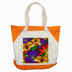 Bright Flowers Floral Sunflower Purple Orange Greeb Red Star Accent Tote Bag by Mariart