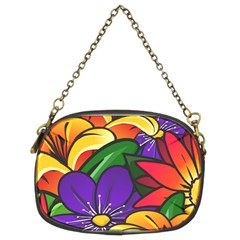 Bright Flowers Floral Sunflower Purple Orange Greeb Red Star Chain Purses (two Sides)  by Mariart