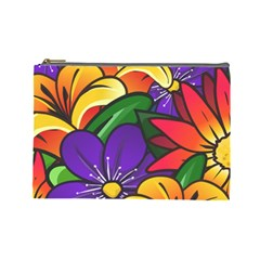 Bright Flowers Floral Sunflower Purple Orange Greeb Red Star Cosmetic Bag (large)  by Mariart