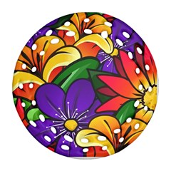 Bright Flowers Floral Sunflower Purple Orange Greeb Red Star Ornament (round Filigree) by Mariart