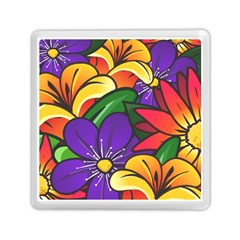 Bright Flowers Floral Sunflower Purple Orange Greeb Red Star Memory Card Reader (square)  by Mariart