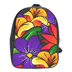 Bright Flowers Floral Sunflower Purple Orange Greeb Red Star School Bags (xl)  by Mariart