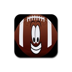 Happy Football Clipart Excellent Illustration Face Rubber Square Coaster (4 Pack)  by Mariart