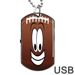 Happy Football Clipart Excellent Illustration Face Dog Tag Usb Flash (two Sides) by Mariart