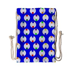 Easter Egg Fabric Circle Blue White Red Yellow Rainbow Drawstring Bag (small) by Mariart