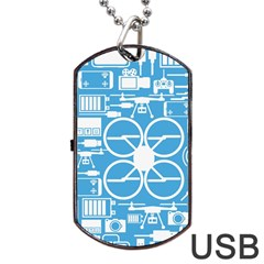 Drones Registration Equipment Game Circle Blue White Focus Dog Tag Usb Flash (two Sides) by Mariart