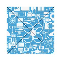 Drones Registration Equipment Game Circle Blue White Focus Acrylic Tangram Puzzle (6  X 6 ) by Mariart