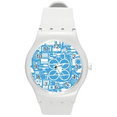 Drones Registration Equipment Game Circle Blue White Focus Round Plastic Sport Watch (m) by Mariart