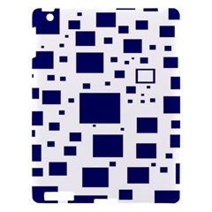 Illustrated Blue Squares Apple Ipad 3/4 Hardshell Case by Mariart