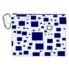 Illustrated Blue Squares Canvas Cosmetic Bag (xxl) by Mariart