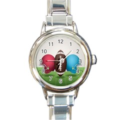Helmet Ball Football America Sport Red Brown Blue Green Round Italian Charm Watch by Mariart