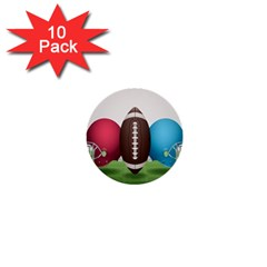 Helmet Ball Football America Sport Red Brown Blue Green 1  Mini Buttons (10 Pack)  by Mariart