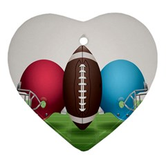 Helmet Ball Football America Sport Red Brown Blue Green Heart Ornament (two Sides) by Mariart