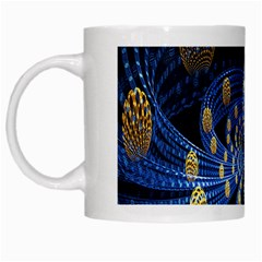 Fractal Balls Flying Ultra Space Circle Round Line Light Blue Sky Gold White Mugs by Mariart