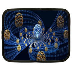 Fractal Balls Flying Ultra Space Circle Round Line Light Blue Sky Gold Netbook Case (large) by Mariart