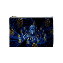 Fractal Balls Flying Ultra Space Circle Round Line Light Blue Sky Gold Cosmetic Bag (medium)  by Mariart