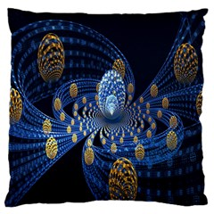 Fractal Balls Flying Ultra Space Circle Round Line Light Blue Sky Gold Large Cushion Case (two Sides) by Mariart