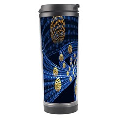 Fractal Balls Flying Ultra Space Circle Round Line Light Blue Sky Gold Travel Tumbler by Mariart
