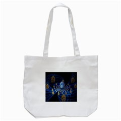 Fractal Balls Flying Ultra Space Circle Round Line Light Blue Sky Gold Tote Bag (white) by Mariart