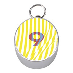 Number 9 Line Vertical Yellow Red Blue White Wae Chevron Mini Silver Compasses by Mariart