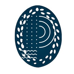Parachute Water Blue Waves Circle White Ornament (oval Filigree) by Mariart