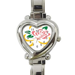 Pink Rose Ribbon Bouquet Green Yellow Flower Floral Heart Italian Charm Watch by Mariart