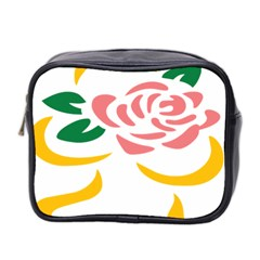 Pink Rose Ribbon Bouquet Green Yellow Flower Floral Mini Toiletries Bag 2 Side by Mariart