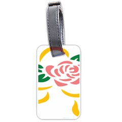 Pink Rose Ribbon Bouquet Green Yellow Flower Floral Luggage Tags (one Side)  by Mariart