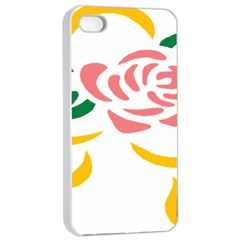 Pink Rose Ribbon Bouquet Green Yellow Flower Floral Apple Iphone 4/4s Seamless Case (white) by Mariart