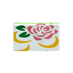 Pink Rose Ribbon Bouquet Green Yellow Flower Floral Cosmetic Bag (xs) by Mariart