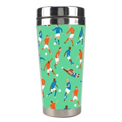 Players Football Playing Sports Dribbling Kicking Goalkeepers Stainless Steel Travel Tumblers by Mariart