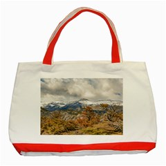 Forest And Snowy Mountains, Patagonia, Argentina Classic Tote Bag (red) by dflcprints