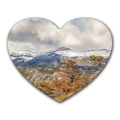 Forest And Snowy Mountains, Patagonia, Argentina Heart Mousepads by dflcprints