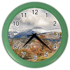 Forest And Snowy Mountains, Patagonia, Argentina Color Wall Clocks by dflcprints