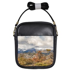 Forest And Snowy Mountains, Patagonia, Argentina Girls Sling Bags by dflcprints