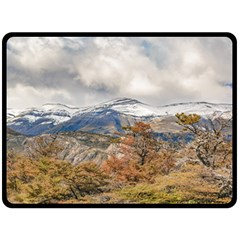 Forest And Snowy Mountains, Patagonia, Argentina Fleece Blanket (large)  by dflcprints