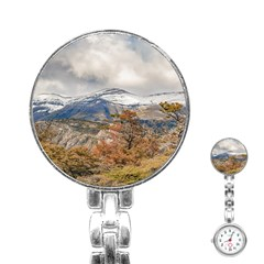 Forest And Snowy Mountains, Patagonia, Argentina Stainless Steel Nurses Watch by dflcprints