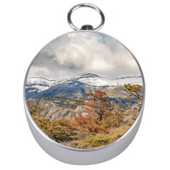 Forest And Snowy Mountains, Patagonia, Argentina Silver Compasses by dflcprints