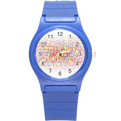 Random Sized Cube Multiple Plaid Color Rainbow Round Plastic Sport Watch (s) by Mariart
