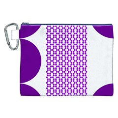 River Hyacinth Polka Circle Round Purple White Canvas Cosmetic Bag (xxl) by Mariart