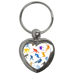 Sport Player Playing Key Chains (heart)  by Mariart
