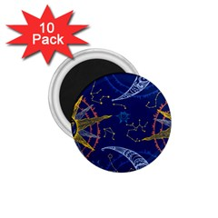 Sun Moon Seamless Star Blue Sky Space Face Circle 1 75  Magnets (10 Pack)  by Mariart