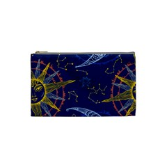 Sun Moon Seamless Star Blue Sky Space Face Circle Cosmetic Bag (small)  by Mariart
