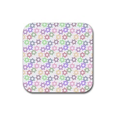Star Space Color Rainbow Pink Purple Green Yellow Light Neons Rubber Square Coaster (4 Pack)  by Mariart