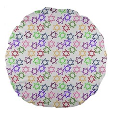 Star Space Color Rainbow Pink Purple Green Yellow Light Neons Large 18  Premium Flano Round Cushions by Mariart