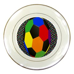 Team Soccer Coming Out Tease Ball Color Rainbow Sport Porcelain Plates by Mariart