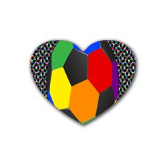 Team Soccer Coming Out Tease Ball Color Rainbow Sport Heart Coaster (4 Pack)  by Mariart