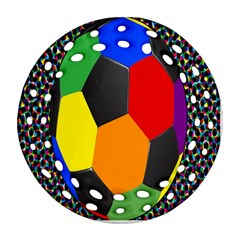 Team Soccer Coming Out Tease Ball Color Rainbow Sport Round Filigree Ornament (two Sides) by Mariart