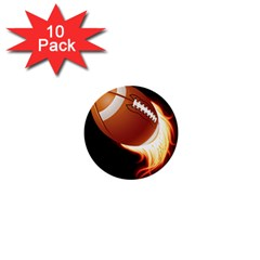 Super Football American Sport Fire 1  Mini Buttons (10 Pack)  by Mariart