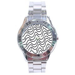 Wave Waves Chefron Line Grey White Stainless Steel Analogue Watch by Mariart